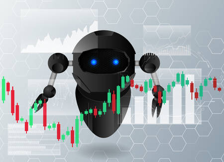 The robot analyzes stock charts.Concept of artificial intelligence in trade.