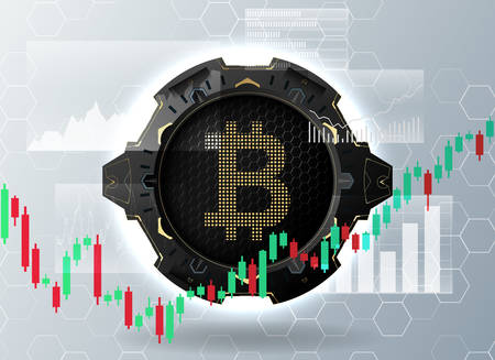Bitcoin symbol and price chart.Cryptocurrency concept