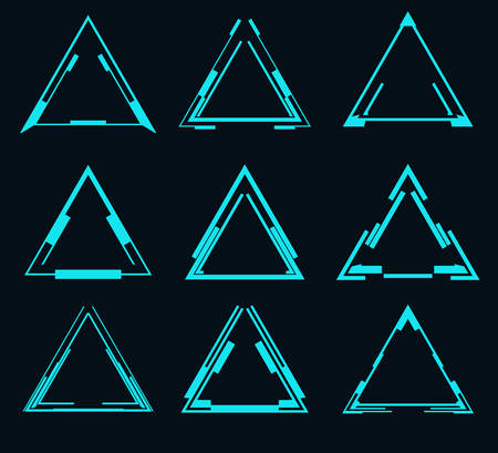 Set of futuristic triangles for the hud interface.Vector illustration.