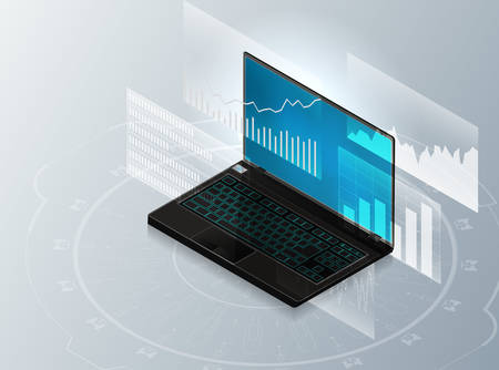 Isometric laptop and charts.Concept of analyzing results in modern business.