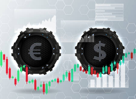 Euro and dollar exchange.Concept of global currency trading.