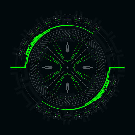 Futuristic round element for the hud interface.Concept of modern indicator.Vector illustration.
