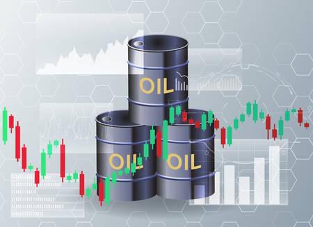 Oil barrels and stock charts.The concept of global oil trade. Illusztráció