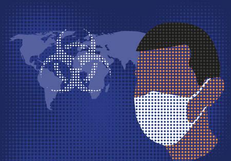 Man wearing a medical mask and biohazard symbol.Vector illustration. Illusztráció