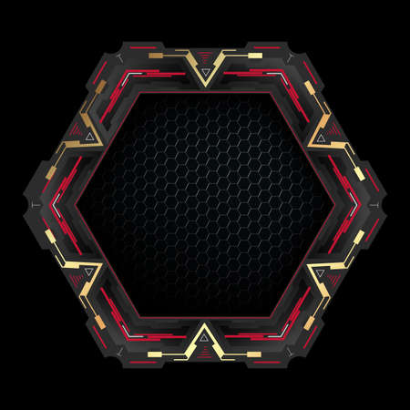 Futuristic hexagon with copy space.Abstract technology frame.Vector element for modern interface.