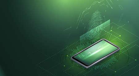 Smartphone and fingerprint scanning. Çizim