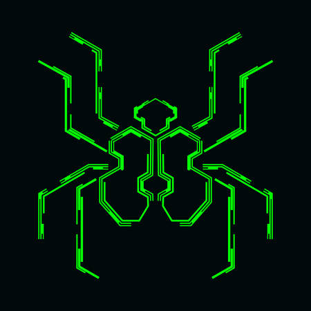 Abstract spider symbol on a dark background. Futuristic vector illustration.
