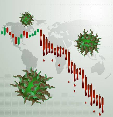 Coronavirus and bleeding stock chart.Concept of global financial crisis.