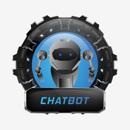 Chat bot sign.Vector illustration on white background. Çizim