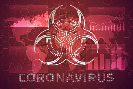 Coronavirus concept with the world map and the biohazard symbol.Vector illustration viral pandemic in the world.