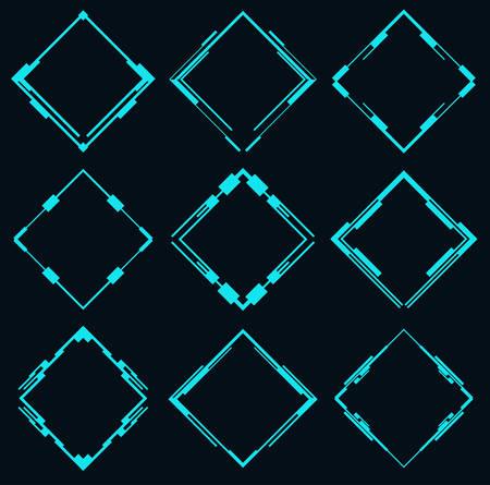 Set of futuristic rhombuses for hud interface.Vector illustration. Çizim