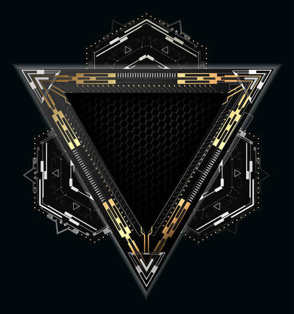 Futuristic triangular frame with metallic elements.Abstract vector element for modern interface.