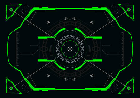 Futuristic crosshair concept for hud interface.Abstract Hi-Tech elements.Vector illustration. Çizim