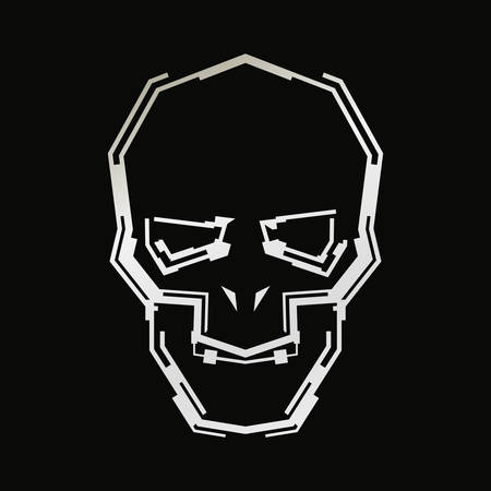 Futuristic skull symbol.Vector illustration on dark background. Çizim