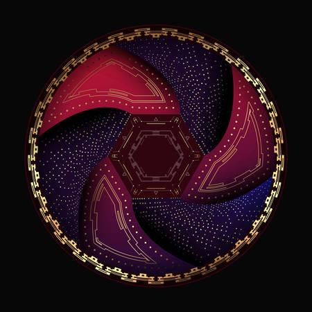 Abstract round element on a dark background.Vector illustration. Çizim