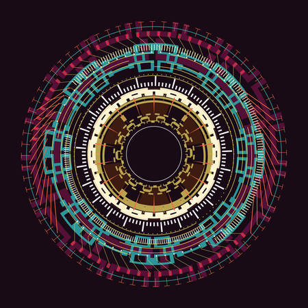 Abstract round element on a dark background.Vector illustration. Illusztráció