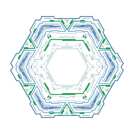 Hexagonal element for the futuristic interface.Abstract vector element for modern design.