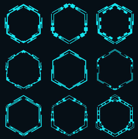 Set of futuristic hexagons for hud interface.Sci fi Interface Elements.Vector illustration.