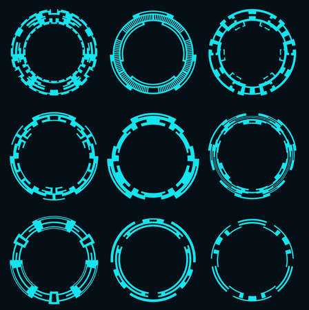 Set of round elements for the hud interface.Circular Hi-Tech elements.Vector illustration.