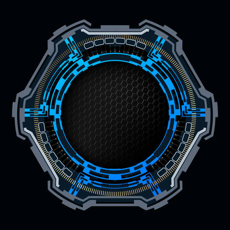 Round futuristic sign with copy space.Vector technology background. Çizim