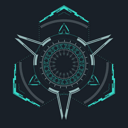 Futuristic element for the hud interface.Concept of modern indicator.Vector illustration. Çizim