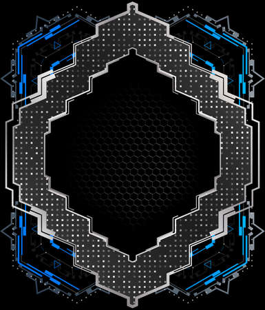 Abstract futuristic frame with metallic elements.Vector element for modern interface.