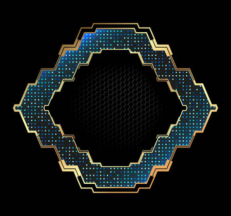 Abstract elegant frame with metallic elements.Vector element for modern interface. Çizim