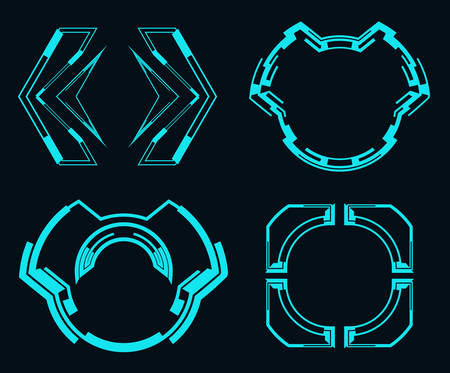 Set of futuristic elements for the hud interface.Vector illustration. Çizim