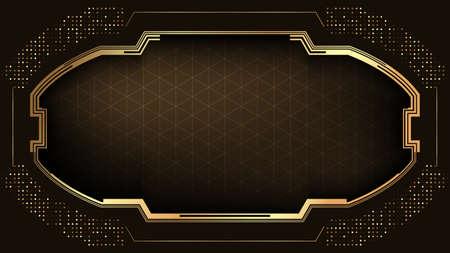 Elegant dark background with gold frame.Luxury banner template.Vector illustration.
