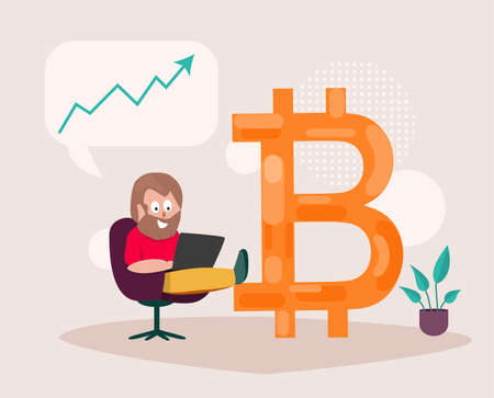 The man enjoys the increase in prices Bitcoin. Financial concept. Vector illustration.