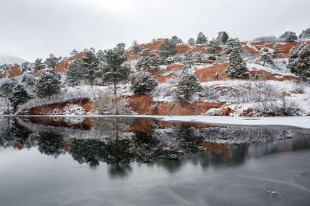Red Rock Canyon after a fresh snowfall Stock Photo
