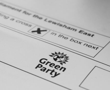 London  United Kingdom - December 7th 2019: Ballot paper for Lewisham East with Green Party logo
