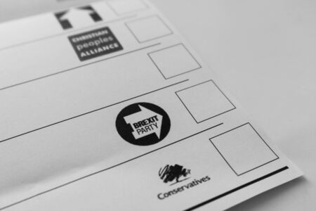 London / United Kingdom - December 7th 2019: Ballot paper for general election from Lewisham East constituency