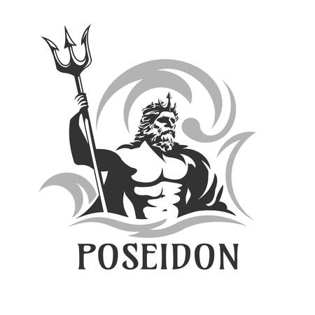 poseidon vector illustration Ilustrace
