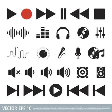 Audio Music note flat icon vector template Illusztráció