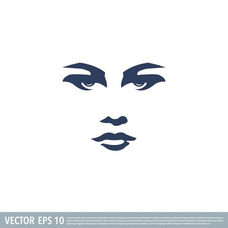 Beautiful face of a woman, black & white vector illustration