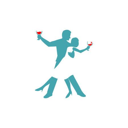 male and female dance logo template Illusztráció