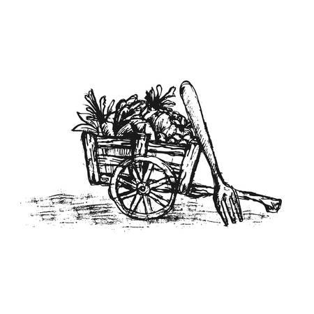 Draw a hand in a fruit car...a fork-vegetarian logo