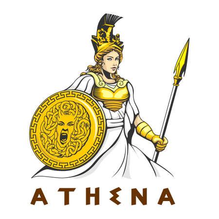 Greek Goddess Athena illustration vector template Vector Illustration