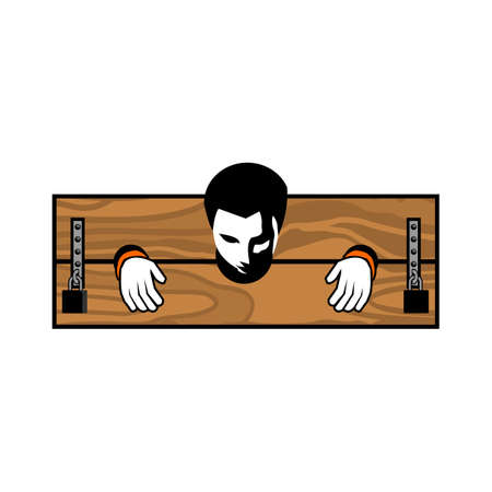 Prisoner Pillory illustration vector