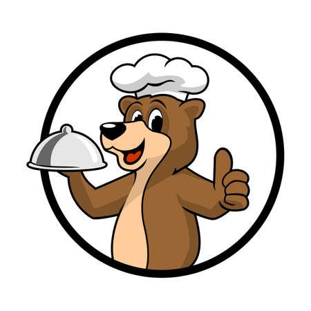 bear chef logo mascot vector Illusztráció
