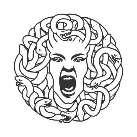 Medusa head with snakes logo circle