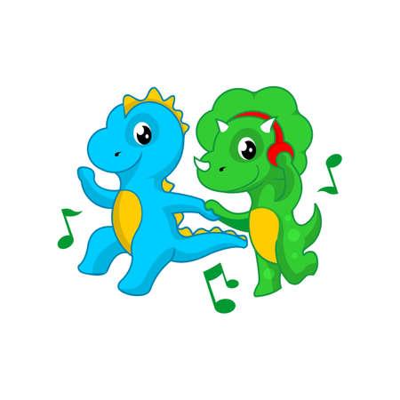 cute dancing dinosaur cartoon vector