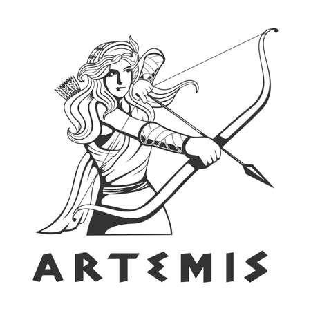 illustration of the goddess Artemis Illusztráció
