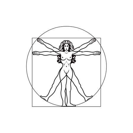 Vector illustration of Vitruvian woman Illusztráció