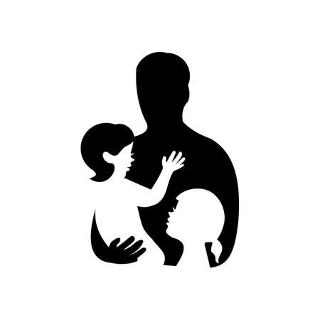 father with two daughters silhouette logo vector
