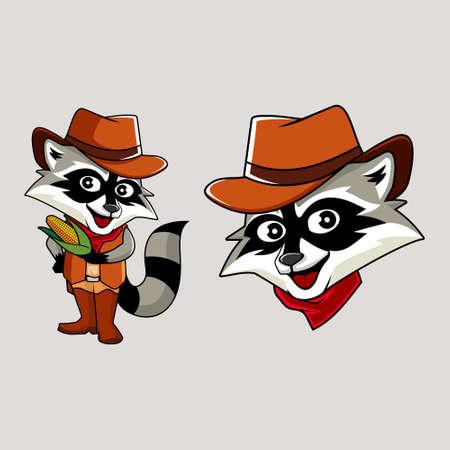 Racoon cowboy mascot vector