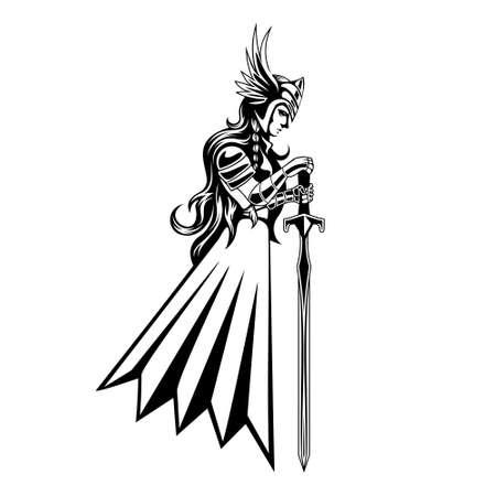 illustration of valkyrie carrying a sword vector Illusztráció