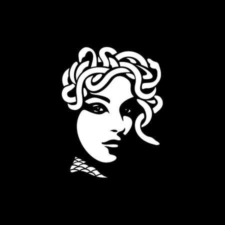 medusa illustration black backgorund vector Illusztráció