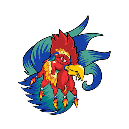 cool punk rooster mascot vector
